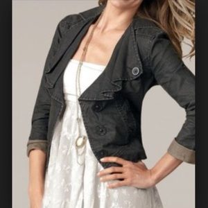 CAbi waxed black denim jacket with ruffle collar